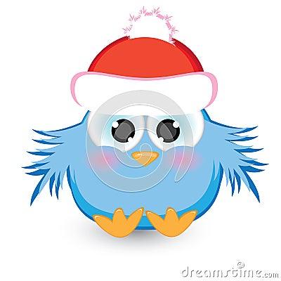 Cartoon blue sparrow in a red cap