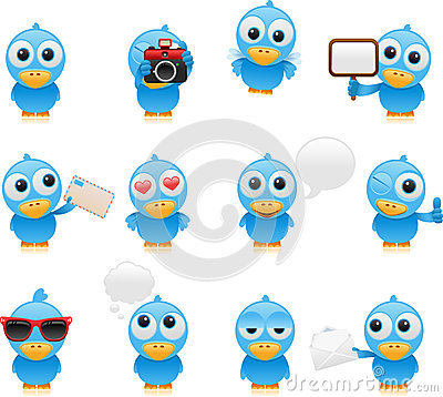 Cartoon bluebird set