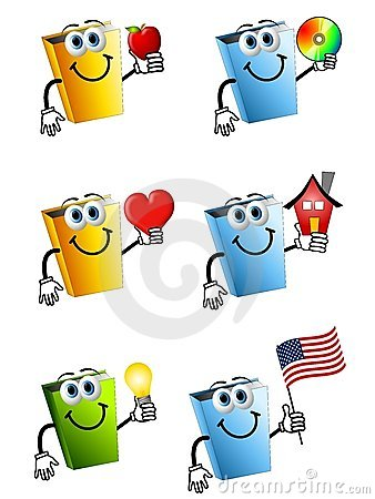 Free Cartoon Books Holding Objects Royalty Free Stock Image - 4750176