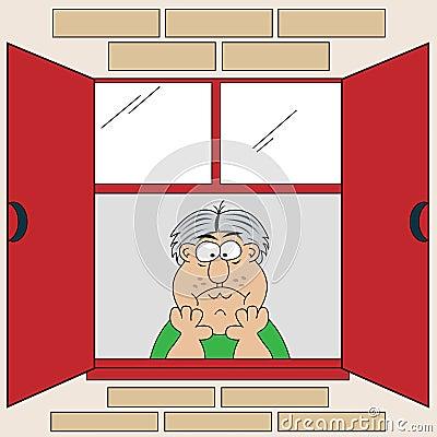 Cartoon Bored Old Man at Window