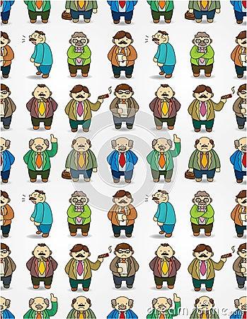 Cartoon boss seamless pattern