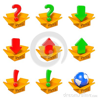 Free Cartoon Box With Question Mark. Isolated On White. Stock Photography - 49068042