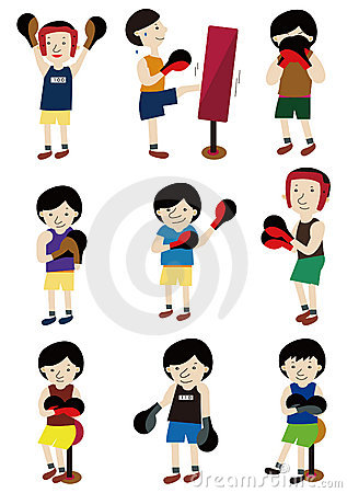 Cartoon boxer icon set