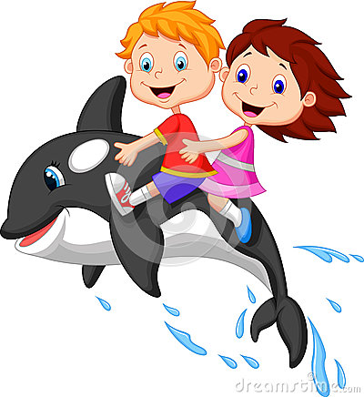 Free Cartoon Boy And Girl Riding Orca Royalty Free Stock Image - 34607436