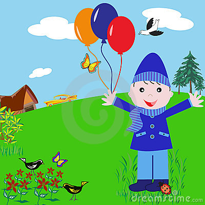 Cartoon Boy with Balloons in the Park