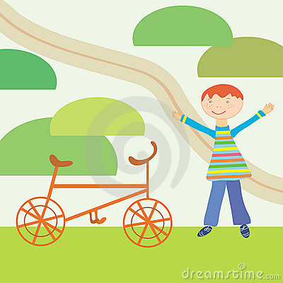 Cartoon boy and bicycle
