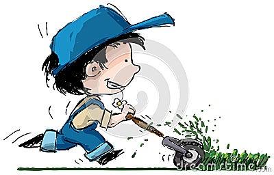 Cartoon Boy Cutting Grass Stock Image Image 22482311