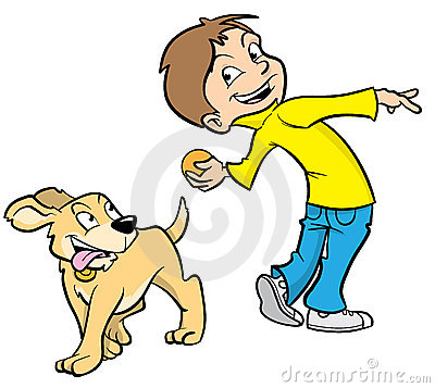 Cartoon boy and dog