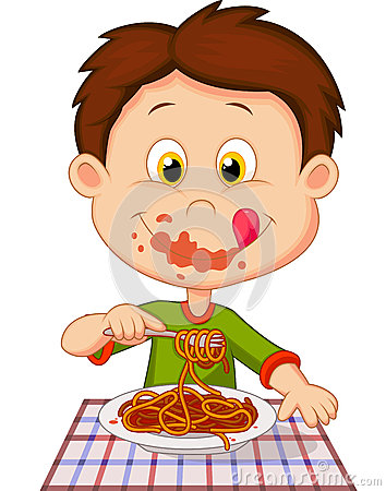 Free Cartoon Boy Eating Spaghetti Stock Images - 39149834