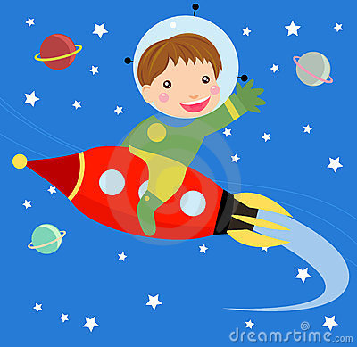 Cartoon boy fly riding red fast rocket.