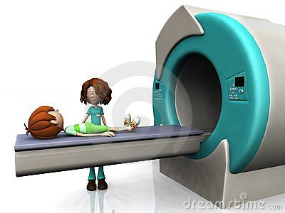 Cartoon boy getting an MRI scan.
