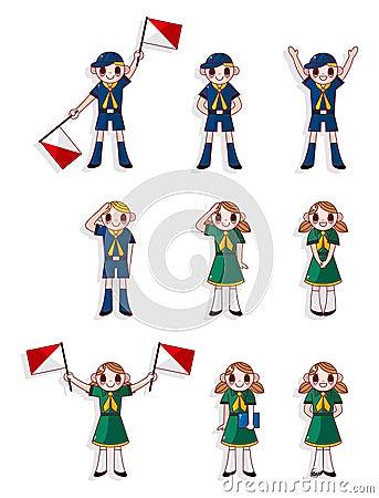 Cartoon boy/girl scout icon set