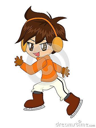 Cartoon Boy on Ice Skates