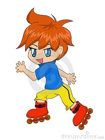 Cartoon Boy on Inline Skates