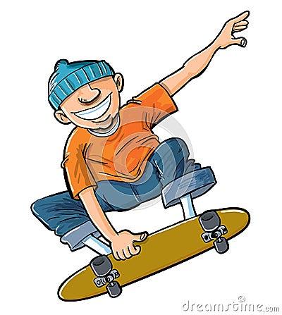 Cartoon of boy jumping on his skateboard.