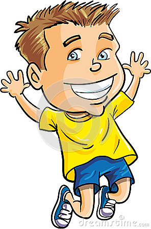 Cartoon Boy Jumping For Joy Royalty Free Stock Photo
