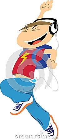 Cartoon Boy Jumps for Joy