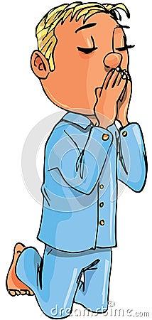 Cartoon boy kneeling in prayer
