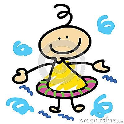 Cartoon boy learn swimming