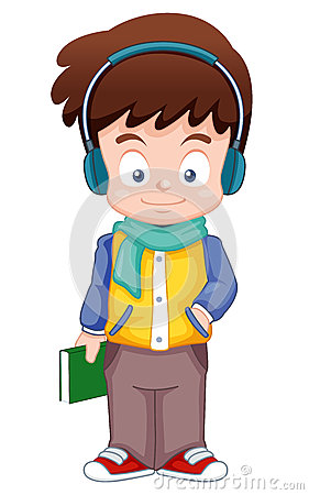 Cartoon Boy listen music