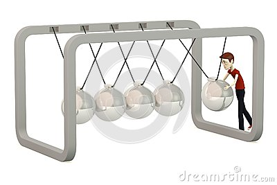 Cartoon boy with newton cradle