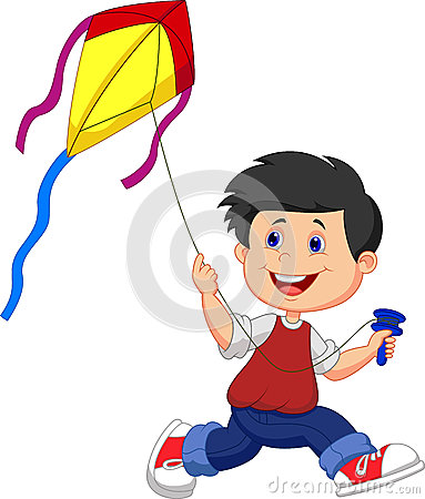 Free Cartoon Boy Playing Kite Stock Photo - 33242910