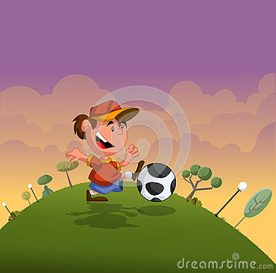 Cartoon boy playing with soccer ball
