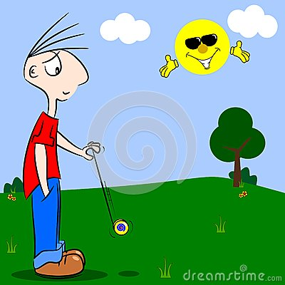 A cartoon boy playing with a yo-yo