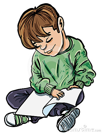 Cartoon of boy reading a book