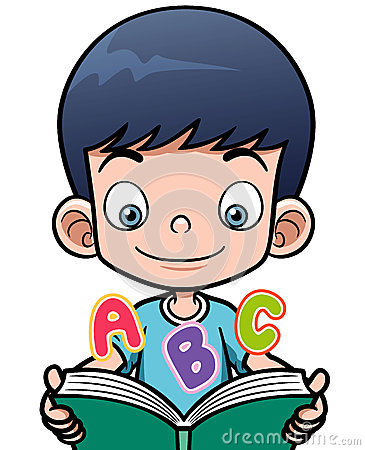 Cartoon Boy Reading A Book Royalty Free Stock Image ...