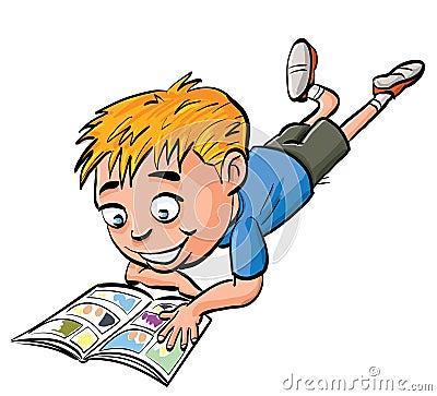 Cartoon boy reading a comic book