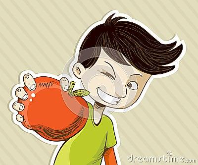 Cartoon boy with red apple