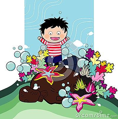 Cartoon boy in the sea