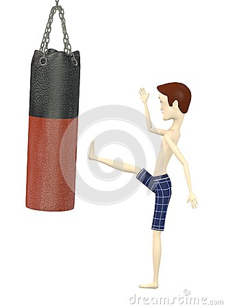 Cartoon boy in shorts - boxing