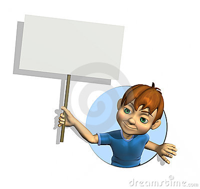 Cartoon Boy with Sign
