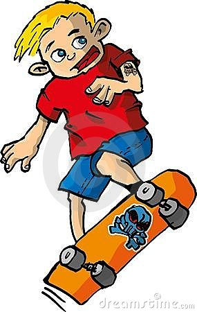 Cartoon of boy on a skateboard