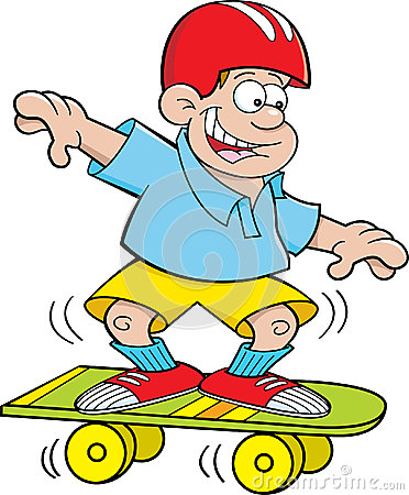 Cartoon boy skateboarding