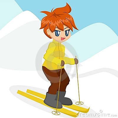 Cartoon Boy Skiing