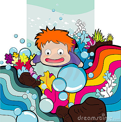 Cartoon boy swimming