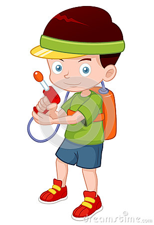 Cartoon boy with toy gun