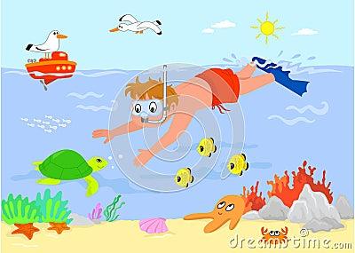 Cartoon boy underwater