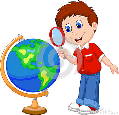 Free Cartoon Boy Using Magnifying Glass Looking At Globe Stock Images - 34606384