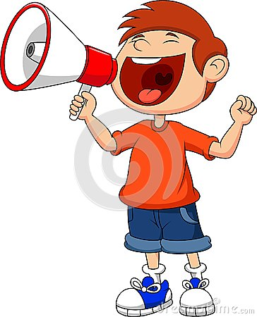 Free Cartoon Boy Yelling And Shouting Into A Megaphone Stock Photos - 33231933