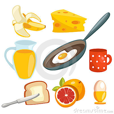 Free Cartoon Breakfast Collection Royalty Free Stock Images - 18195599