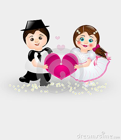 Cartoon Bride and Groom