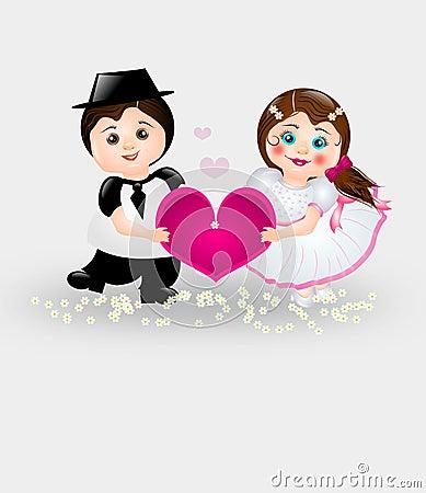 Cartoon Bride and Groom