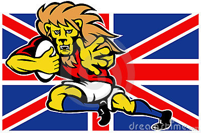 Cartoon British Lion playing rugby