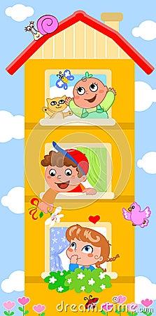 Cartoon building with cute children