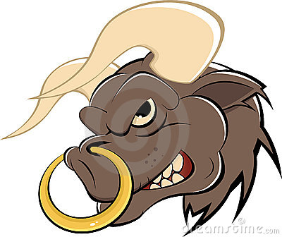 Cartoon Bull with Nose Ring