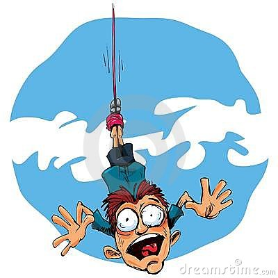 Cartoon bungee jumper falling in fear